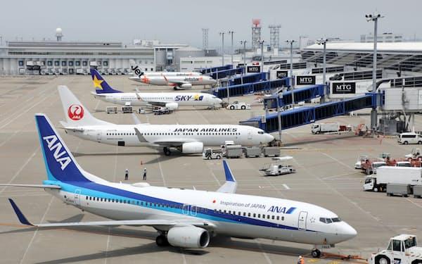 中部国際空港に駐機する旅客機(愛知県常滑市)