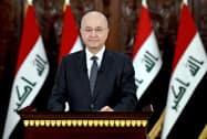 辞任する意向を表明したイラクのサレハ大統領=ロイター