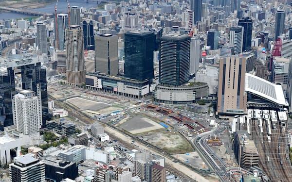 再開発エリア「うめきた2期」(中央の空き地)