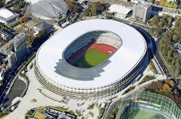 2020年東京五輪・パラリンピックのメインスタジアムとなる国立競技場=共同