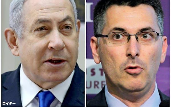 イスラエルの与党リクードの党首選では現職のネタニヤフ首相(左)にサール元内相が挑んだ=ロイター