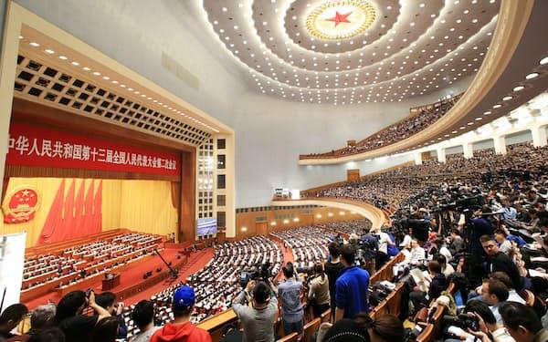 2019年の全人代(北京の人民大会堂)=横沢太郎撮影