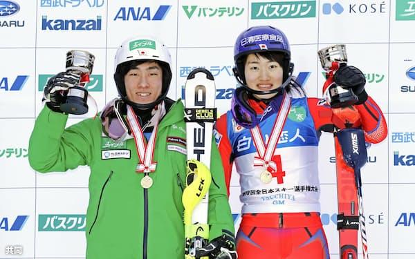 回転で優勝した男子の小山陽平(左)と女子の安藤麻(28日)=共同