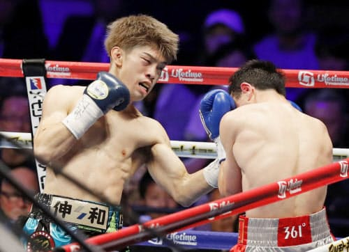 3回、ウラン・トロハツに左アッパーでKO勝ちする田中恒成=左(31日、大田区総合体育館)=共同