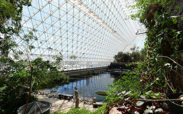 施設内部には熱帯雨林などの景色が広がる