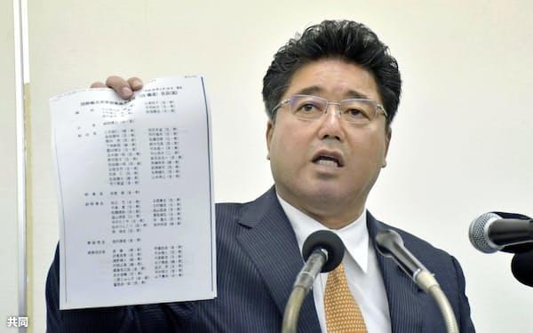 資料を手に記者会見する日本維新の会の下地幹郎衆院議員(6日午後、那覇市)=共同