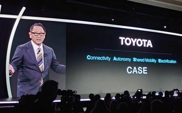 スマートシティー建設を発表するトヨタの豊田社長