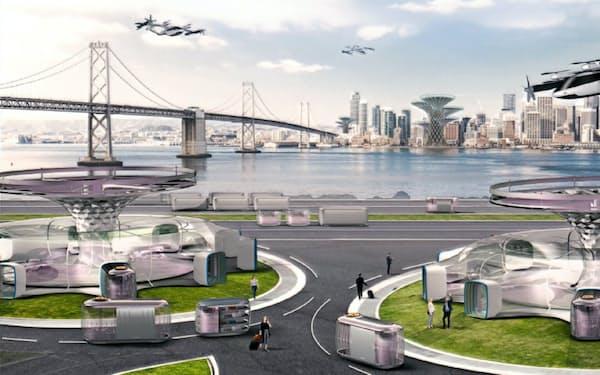 韓国・現代自動車が公表した空飛ぶタクシーを使った移動サービスのイメージ