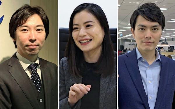 (左から)ウェルモの鹿野社長、シナモンの平野社長、、オクトの稲田社長