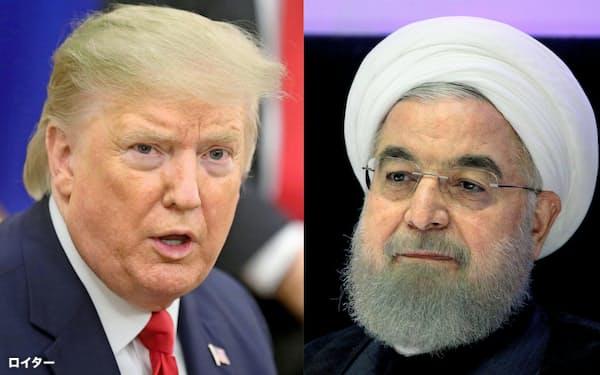 トランプ米大統領(左)とロウハニ・イラン大統領=ロイター