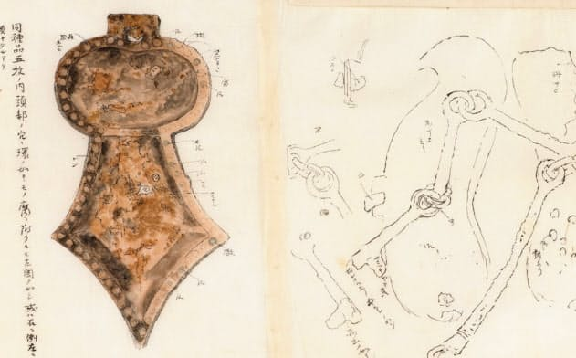 京都国立博物館が所蔵していることが確認された鹿谷古墳出土品の絵図の写し(部分、画像は大手前大提供)
