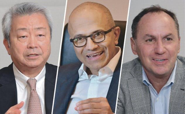NTTの澤田純社長(左)、米マイクロソフトのサティア・ナデラCEO(中)、米インテルのボブ・スワンCEO(右)