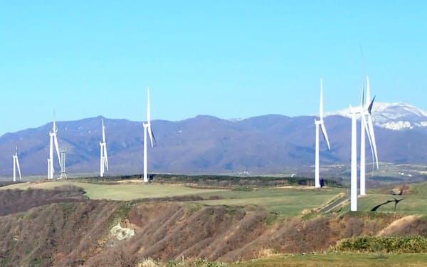 運転を始めた風力発電所(北海道せたな町)