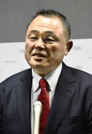 IOC委員就任の抱負を語るJOC会長の山下泰裕氏(10日、スイス・ローザンヌ)=共同