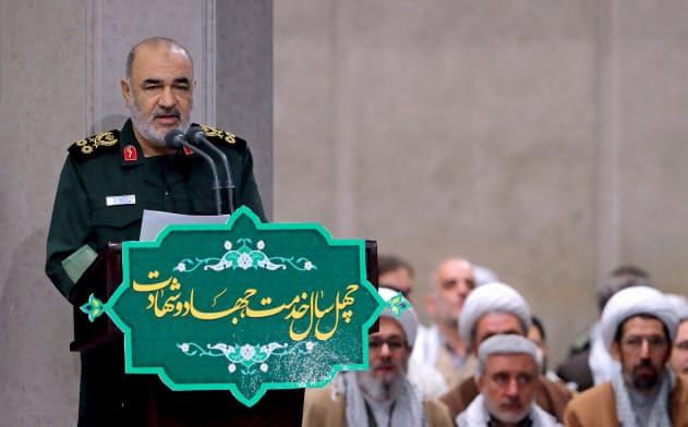 革命防衛隊のサラミ司令官(2019年11月、テヘラン)=Sipa・AP