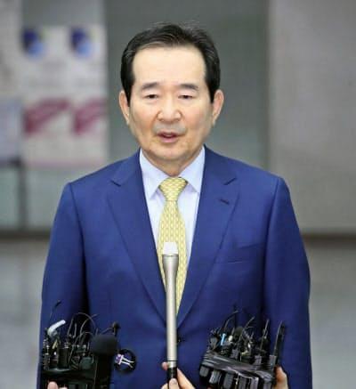 韓国の丁世均新首相=聯合・共同