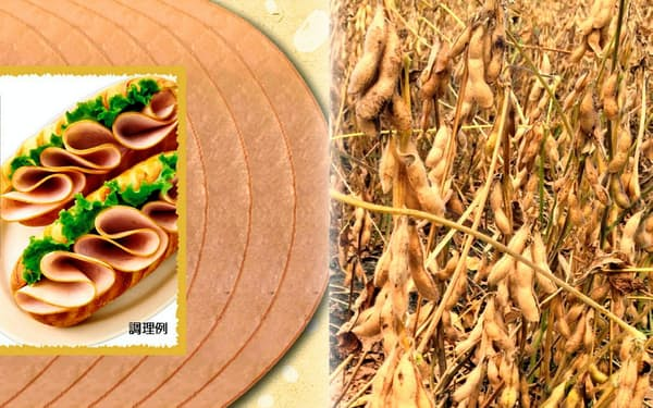 日本ハムのナチュミート(左)と大豆