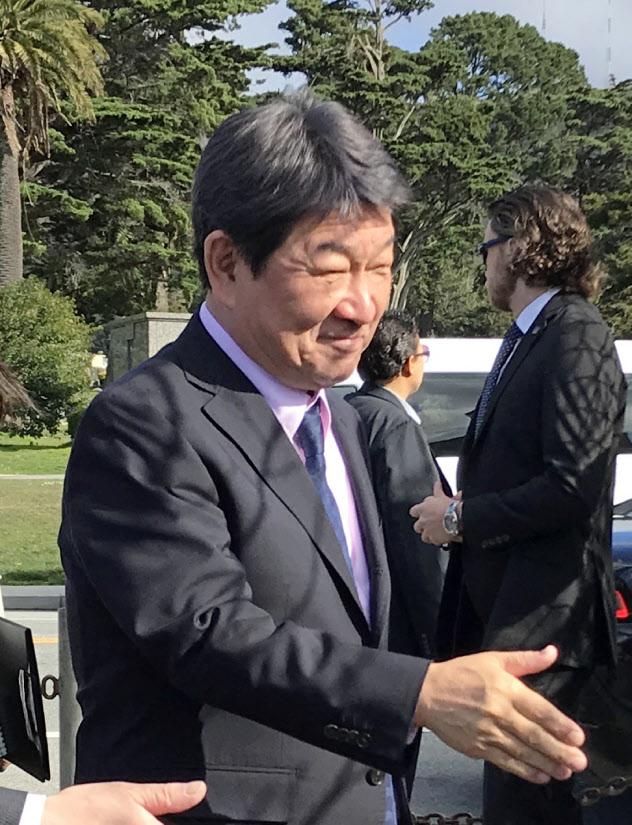 米国を訪問中の茂木外相(13日、サンフランシスコ近郊)