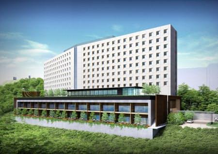 常磐興産が2022年に開業を目指すホテル「カピリナタワー」の外観イメージ