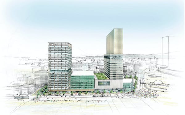 再開発の進む福井駅西口(画像はイメージ、右側の棟が開業予定のホテル棟)