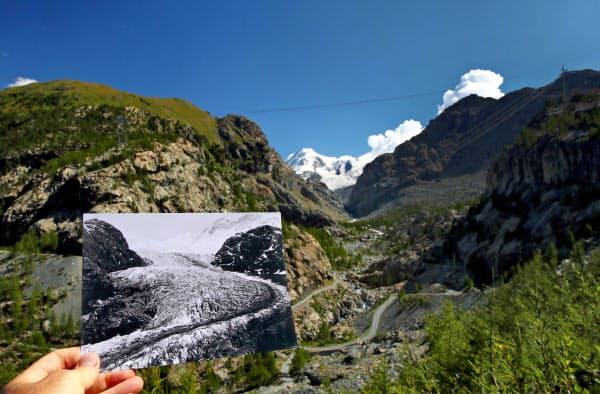 温暖化の影響で氷河が消え始めているという(スイス・チェルマット)=ロイター