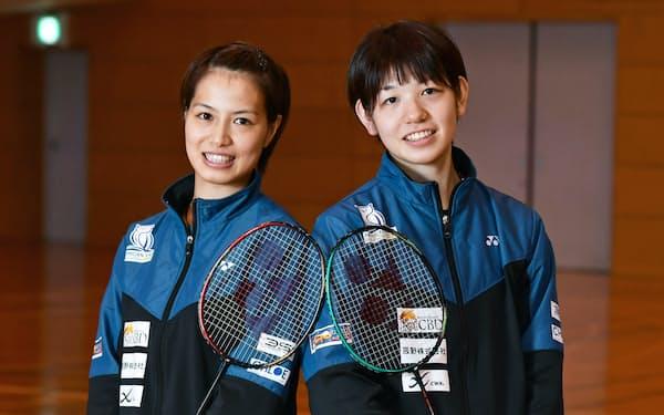 バドミントン女子ダブルス日本代表の福島(左)と広田の「フクヒロ」ペア
