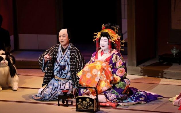 「大當り伏見の富くじ」の中村鴈治郎(右)と松本幸四郎