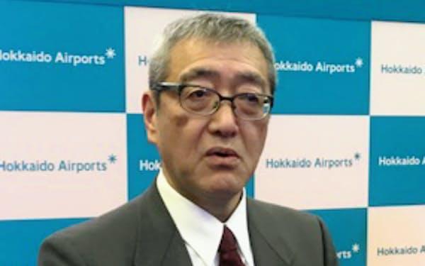 北海道エアポートの蒲生猛社長(18日、新千歳空港)