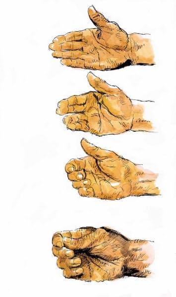 アドレスでのグリップの力加減は左手7分、右手3分。右手の人差指はピストルの引き金を引くように締める。こうして左手主体でスイングする