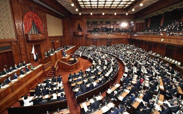 第201通常国会が召集され、安倍首相の施政方針演説が行われた衆院本会議(20日午後)=共同