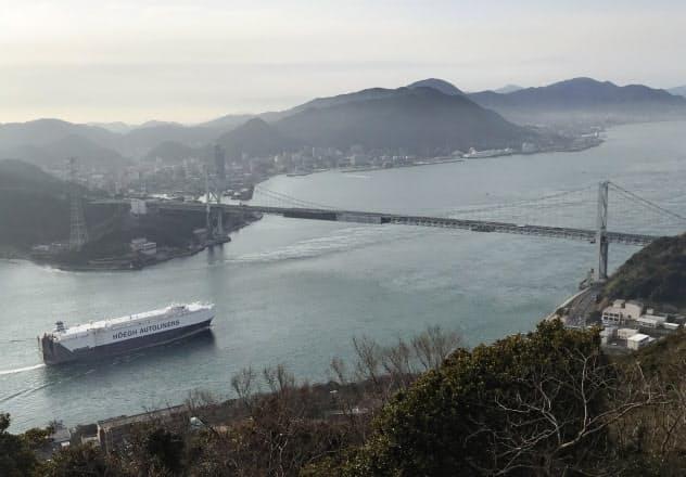火の山の山頂から見下ろした関門海峡