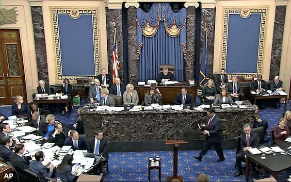 弾劾裁判の正式な冒頭陳述は22日に始まる予定だ(21日、ワシントン)=上院テレビ提供・AP