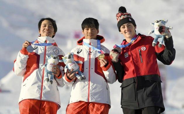 スノーボードのビッグエア男子で優勝した木俣椋真(中央)と2位の川上蒼斗=左(22日、レザン)=ゲッティ共同