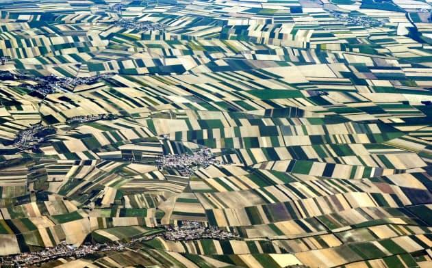 オーストリアの首都ウィーン近郊の畑が描きだしたモザイク模様