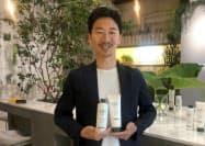 新商品にはバイオマス容器を採用。取締役の藤岡礼記マーケティング本部長は「2025年までにボタニストシリーズの40%以上をバイオマス容器にする」と話す