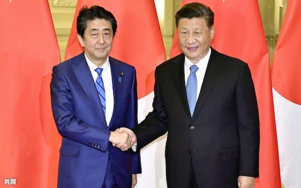 会談を前に握手する安倍首相と中国の習国家主席(2019年12月、北京の人民大会堂)=共同