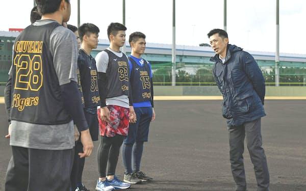 8日に阪神の新人合同自主トレーニングを視察した矢野監督(右端)=共同