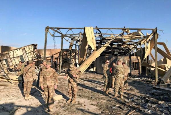 8日にイランの報復攻撃を受けた米軍が駐留するイラク中西部のアサド空軍基地(13日、アンバル州)
