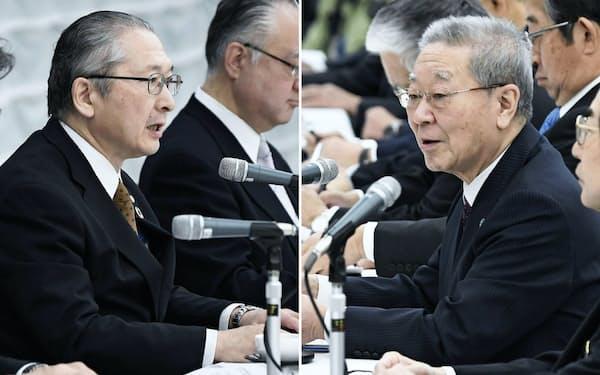 経団連の中西会長(右)と連合の神津会長