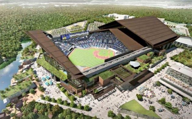プロ野球・日本ハムファイターズが北海道北広島市に建設する新球場の完成イメージ