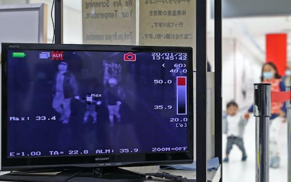 中国湖北省武漢市から到着した乗客らの体温をチェックする成田空港検疫所のモニター(23日)