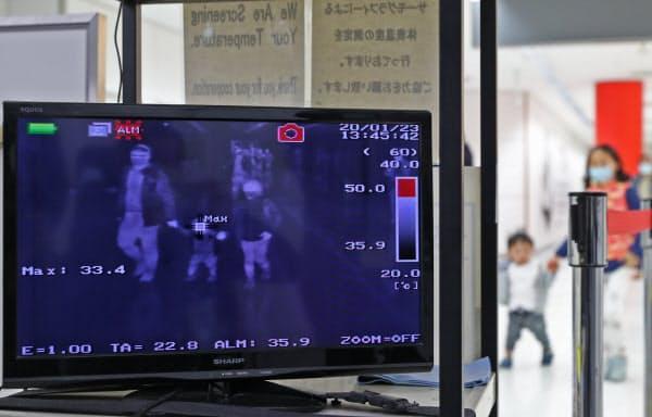 到着した乗客らの体温をチェックする成田空港検疫所のモニター
