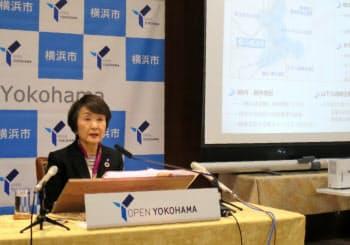横浜市の林市長は東京五輪などを踏まえ「チャンスを最大限に生かしたい」と述べた(29日、横浜市)