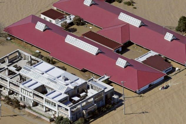 台風19号で浸水した高齢者施設。こうした施設の立地にも規制が強まる(2019年10月、埼玉県川越市)