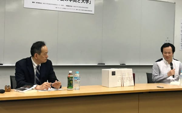 対談する待鳥聡史・京大教授(左)と池内恵・東大教授(東京・目黒の東大駒場キャンパス)