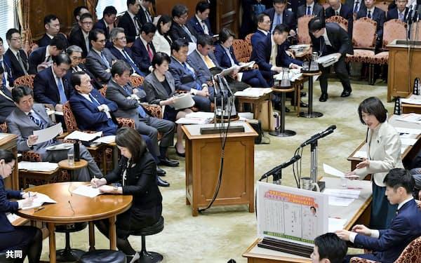 参院予算委で質問する共産党の田村智子氏(右手前から2人目)。左端は安倍首相(30日午後)=共同
