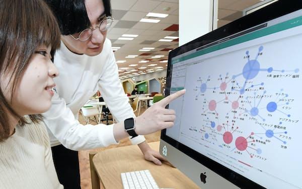 ヤフー本社内にあるDS.LABではアナリスト(右)と一緒にビッグデータを分析することができる(東京都千代田区)