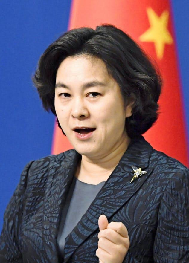 中国外務省の華春瑩報道局長=共同