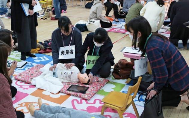 PIONEが開いた保育教諭を対象にした園児急変時のシミュレーショントレーニング(1月11日)