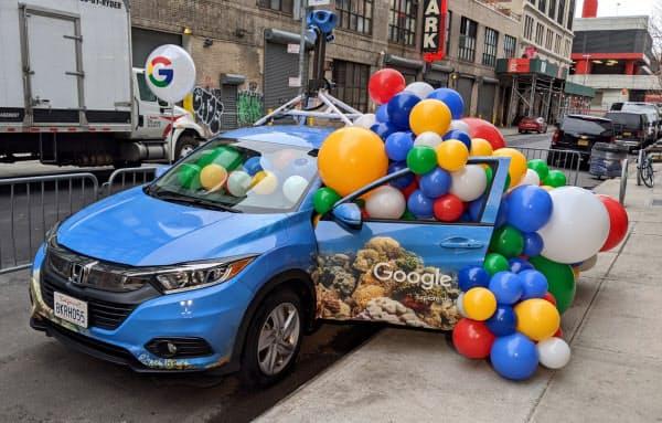 米グーグルは「グーグルマップ」のサービス開始15年に合わせて新機能を紹介するイベントを開いた(5日、米ニューヨーク)